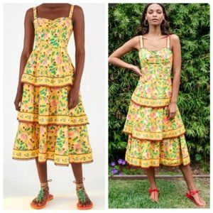 NWT FARM RIO Cashew Tiered Yellow Midi Dress